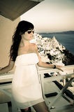 Young woman on holidays, Santorini Royalty Free Stock Photography