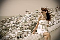 Young woman on holidays, Santorini Stock Photos