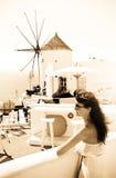 Young woman on holidays, Santorini Stock Photography