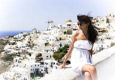 Young woman on holidays, Santorini Royalty Free Stock Image