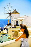 Young woman on holidays, Santorini Stock Photography