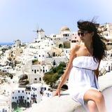 Young woman on holidays, Santorini Royalty Free Stock Image