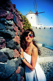 Young woman on holidays, Santorini Stock Photos