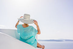 Young woman on holidays, Santorini Oia town Royalty Free Stock Photos