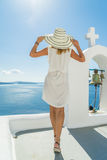Young woman on holidays, Santorini Oia town Royalty Free Stock Images