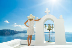 Young woman on holidays, Santorini Oia town Royalty Free Stock Photo
