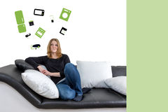 Young woman home appliance concept Royalty Free Stock Photography