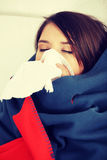 Young woman at home having flu. Stock Photo