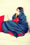 Young woman at home having flu. Royalty Free Stock Photo