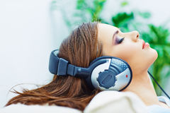 Young woman home portrait. Sleeping girl with head Stock Image