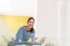 Young woman at home websurfing Royalty Free Stock Photo
