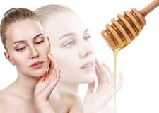 Young woman prepare for honey facial mask. Stock Image
