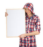 Young woman in hood with blank sign, billboard Stock Images