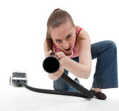 Young woman with hoover Royalty Free Stock Photos