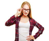 Young woman with horn-rimmed glasses Royalty Free Stock Image
