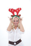 Young woman with horns Stock Photography