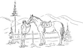 Young woman and horse stock illustration