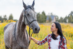 Young woman with a horse Stock Image