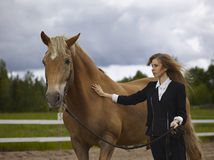 Young woman and horse Stock Images