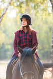 Young woman and horse Stock Photo