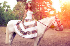 Young woman on a horse. Horseback rider, woman riding horse Royalty Free Stock Photos