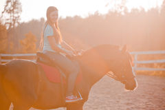Young woman on horse Royalty Free Stock Image