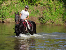 Young woman horseback riding across the river Stock Images