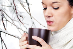 Young woman with hot drink Stock Photography