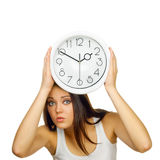 The young woman with hours is frightened Royalty Free Stock Photos