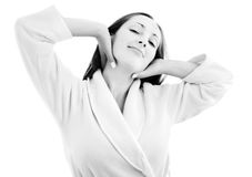 Young woman in housecoat Stock Photography