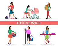 Young woman housewife set doing housework  vector illustration Royalty Free Stock Image