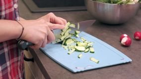 Young housewife slices cucumbers on plastic board. Young woman housewife slices cucumbers on a blue plastic cutting board. Preparing food ingredients on a stone stock footage