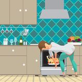 Young woman housewife takes a chicken out of an oven. Girl preparing food in the kitchen. Back view. Flat cartoon vector stock illustration