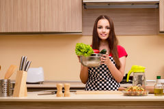The young woman housewife working in the kitchen Stock Images