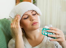 Young woman with huge migraine Royalty Free Stock Photography