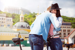 Young woman hugging a man Stock Image