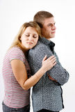 Young woman hugging man Royalty Free Stock Photography