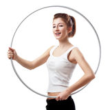 Young woman with hula hoop Stock Photos