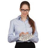 Young woman with hundred dollar bills in his hands Stock Images