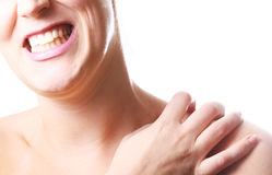 Young Woman With Hurting Shoulder Royalty Free Stock Image