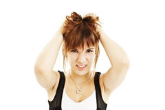 Young woman in hysterics Royalty Free Stock Images