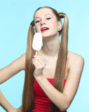 Young woman with ice cream Stock Photo