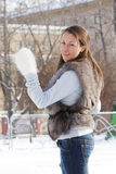 Young woman at ice rink Stock Photo
