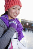 Young woman on ice rink Royalty Free Stock Photography