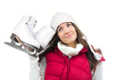 Young woman with ice skates winter Royalty Free Stock Image