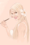 Young Woman Illustration. Young Woman Applying Makeup Illustration Stock Photo