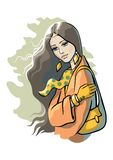 Young Woman. Illustration of young beautiful woman with long hair and bag Stock Image