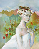 Young woman in the image of spring oil illustration. Young beautiful woman in a wreath in the image of spring on the field oil illustration Stock Photography