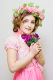 Young woman. Image of spring. Photo serie. Girl symbol of spring Stock Photos