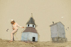 Young woman imitates guitar playing by the church, sketch. Young caucasian woman imitates guitar playing by the church on the hill. Sketch scene. Art technique Royalty Free Stock Photos